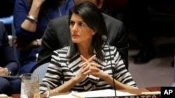 FILE - United States Ambassador to the United Nations Nikki Haley attends a meeting of the Security Council at U.N. headquarters in New York, Feb. 7, 2017.