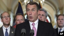 House Speaker John Boehner of Ohio, accompanied by fellow Republican leaders, makes a statement on Capitol Hill in Washington, Monday, May 2, 2011, about the operation killed Osama bin Laden