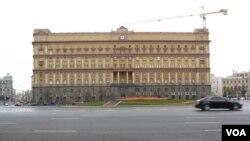 莫斯科市中心的前克格勃大楼,目前是俄罗斯联邦安全局总部。( 美国之音白桦拍摄)