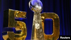 The Vince Lombardi Trophy with the Super Bowl 50 logo is displayed prior to a press conference at Moscone Center in advance of Super Bowl 50, Santa Clara, California, Feb. 5, 2016. (Matthew Emmons-USA TODAY Sports)
