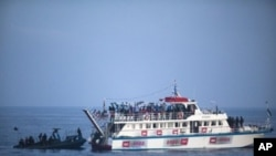 Israeli navy intercepts Gaza-bound aid flotilla in the Mediterranean Sea on 31 May 2010 in a pre-dawn assault which killed several pro-Palestinian activists and sparked global outrage