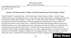 FILE - The White House statement regarding the phone conversation between U.S. President Donald Trump and Turkey's President Recep Tayyip Erdogan, Nov. 24, 2017.