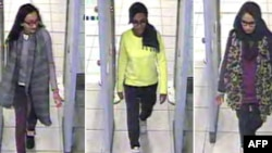FILE - A combination of handout CCTV pictures received from the Metropolitan Police Service shows, from left, British teenagers Kadiza Sultana, Amira Abase and Shamima Begum passing through security barriers at Gatwick Airport, south of London, on Feb. 17, 2015.