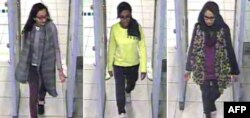 A combination of handout CCTV pictures received from the Metropolitan Police Service shows, from left, British teenagers Kadiza Sultana, Amira Abase and Shamima Begum passing through security barriers at Gatwick Airport, south of London, Feb. 17, 2015.