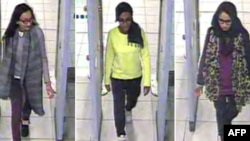 A combination of handout CCTV pictures received from the Metropolitan Police Service shows (L-R) British teenagers Kadiza Sultana, Amira Abase and Shamima Begum passing through security barriers at Gatwick Airport, south of London, on Feb. 17, 2015.