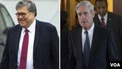 «رابرت مولر» (راست) بازپرس ویژه درباره دخالت روسیه در انتخابات و «ویلیام بار» دادستان کل آمریکا