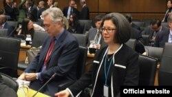 نیکول شامپانی و عضو دیگر هیات نمایندگی ایالات متحده آمریکا در آژانس بین المللی انرژی اتمی