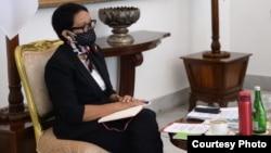 Menlu RI Retno Marsudi pada KTT Khusus ASEAN Plus Three hari Selasa (14/4) (courtesy: Kemlu RI).