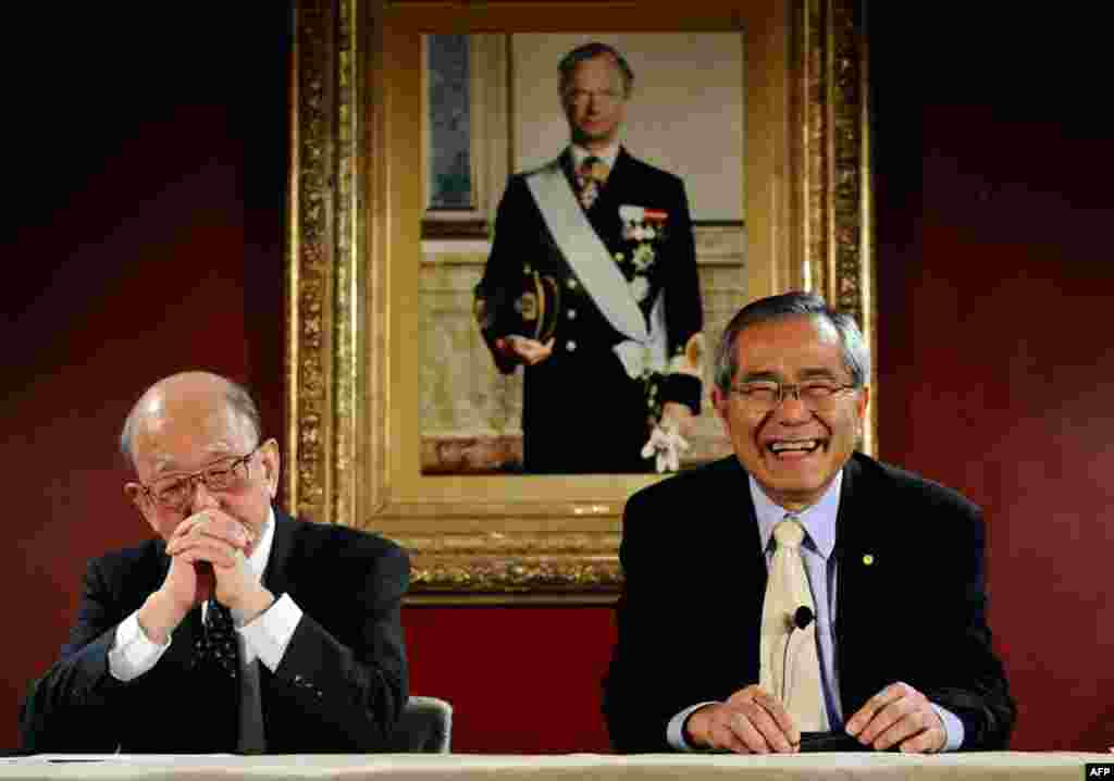 Akira Suzuki (L) of Japan and his compatriot Ei-ichi Negishi meet the media at the Grand Hotel in Stockholm Thursday.The two scientists will receive the Nobel Prize in Chemistry 2010. The portrait in background shows King Carl XVI Gustaf of Sweden, who wi