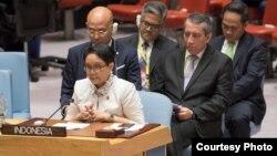 Menlu RI, Retno Marsudi memberikan pidato pada Debat Terbuka Dewan Keamanan PBB di New York hari Kamis (17/5). (Courtesy: PTRI New York)