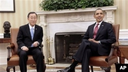 President Barack Obama (r) and U.N. Secretary-General Ban Ki-moon meeting at the White House, February 28, 2011