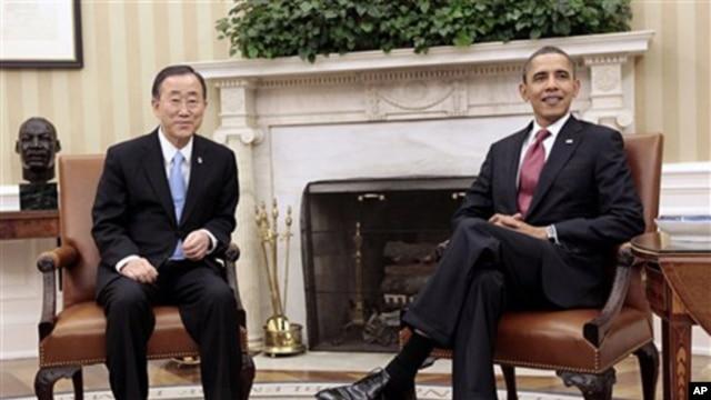 President Barack Obama (r) and U.N. Secretary-General Ban Ki-moon meeting at the White House, February 28, 2011