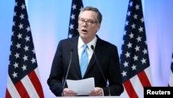 Đại diện Thương mại Mỹ Robert Lighthizer nói với báo chí khi kết thúc các cuộc thảo luận vòng 2 NAFTA tại Mexico City, Mexico, ngày. 5/9/2017.