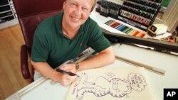 Pencipta Garfield Jim Davis menggambar karakter kartun ciptaannya di kantornya di Muncie, Indiana, 1998. (Foto: Dok)