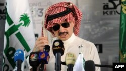Saudi Prince Alwaleed bin Talal speaks during a press conference on May 11, 2017, in the Red Sea city of Jeddah.