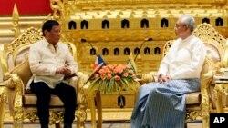 သမၼတ Rodrigo Duterte ႏွင့္ သမၼတ ဦးထင္ေက်ာ္ တို႔ေတြ႕ဆံု