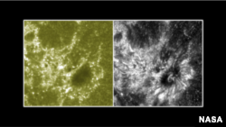 These two images show a section of the sun as seen by NASA's Interface Region Imaging Spectrograph, or IRIS, on the right and NASA's SDO on the left.