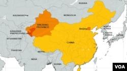 Bản đồ Tân Cương, tây bắc Trung Quốc.