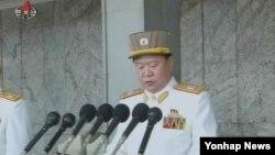 지난해 4월 북한 평양에서 열린 태양절 열병식에서 연설하는 최룡해 인민군 총정치국장.
