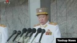지난 4월 15일 북한 평양에서 열린 태양절 열병식에서 연설하는 최룡해 군 총정치국장.