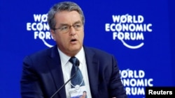 FILE - Roberto Azevedo, Director-General of the World Trade Organization (WTO), attends the World Economic Forum (WEF) annual meeting in Davos, Switzerland, Jan. 24, 2018.