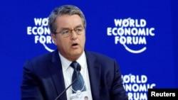 Roberto Azevedo, Directeur général de l'OMC au Forum économique mondial à Davos, en Suisse, le 24 janvier 2018.