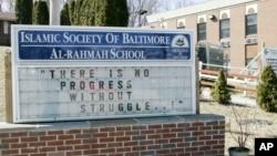 """Komplek masjid dan sekolah """"Al-Rahmah"""" milik the Islamic Society of Baltimore (ISB) di kota Baltimore, Maryland yang akan dikunjungi Presiden Barack Obama Rabu 3/2 ini (foto: dok)."""