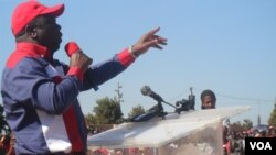Prime Minister Morgan Tsvangirai addressing people in Chegutu, Mashonaland West Province last Saturday