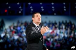 Republican Senator Ted Cruz speaks at Liberty University in Lynchburg, Virginia, to announce his campaign for president, March 23, 2015.