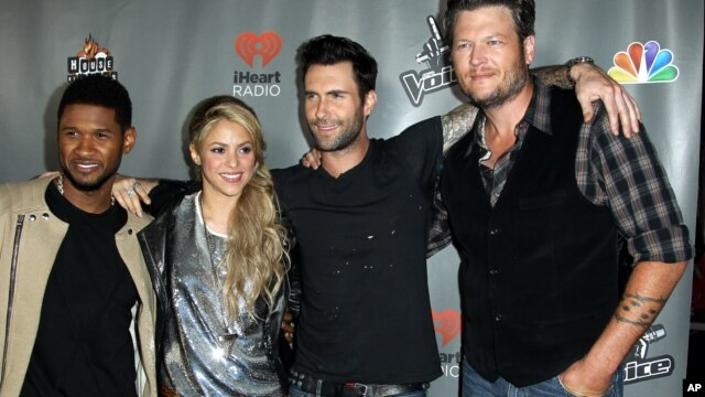 "From left, Usher, Shakira, Adam Levine, and Blake Shelton arrive at ""The Voice"" season 4 red carpet event at the House of Blues on May 8, 2013 in Los Angeles."