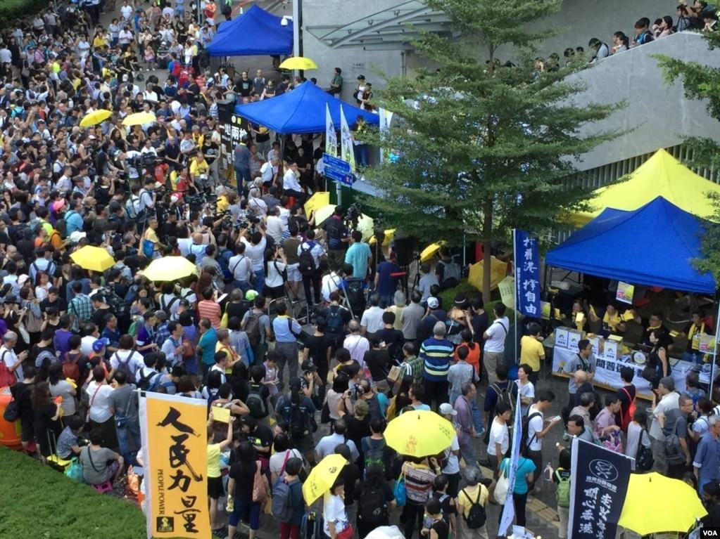 """香港近40个团体及政党9月28日下午5点起,在金钟举行""""全民觉醒,反抗暴政""""的集会,纪念争取特首真普选的占领运动三周年。"""