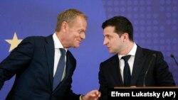 Президент Украины Владимир Зеленский и президент Европейского Совета Дональд Туск. Киев, 8 июля 2019 г.