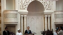 Norwegian Prime Minister Jens Stoltenberg speaks to Muslims gathered at the Central Jamaat Ahle Sunnat mosque in Oslo on Friday
