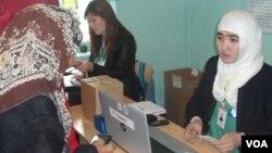Voting in the Kyrgz Republic.