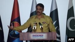 FILE - Pakistan's army spokesman Major General Asif Ghafoor speaks during a press conference in Rawalpindi on April 17, 2017.