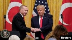 ABD Başkanı Donald Trump ve Cumhurbaşkanı Recep Tayyip Erdoğan'ın 13 Kasım 2019'da Beyaz Saray'da yaptıkları ortak basın toplantısı