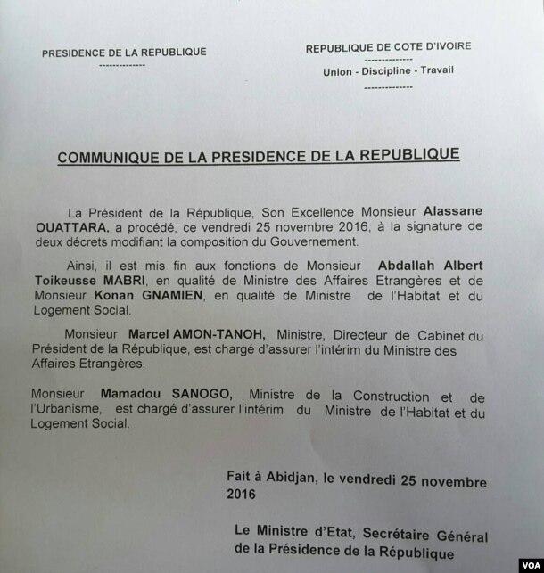 Communiqué de la présidence ivoirienne, Abidjan, le 25 novembre 2016