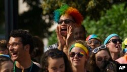 A rainbow wig-wearing fan cheers during the Capital Pride Parade in Washington, June 9, 2018. The yearly event is hosted by and in support of the the LGBTQ+ community and moves through the Dupont Circle and Logan Circle neighborhoods of Washington.