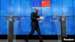 歐盟理事會主席米歇爾2020年9月14日在歐盟-中國峰會後召開記者會(路透社)
