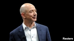 FILE - Amazon CEO Jeff Bezos in Santa Monica, California, Sept. 6, 2012.