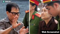 Hai công dân Hoa Kỳ James Nguyễn và Angel Phan bị giải ra tòa ở Tp. HCM ngày 21/8/2018. Photo Soha