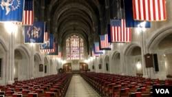 资料照片:西点军校学员教堂。