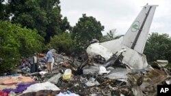 Hiện trường nơi chiếc máy bay rơi ở Juba, Nam Sudan, ngày 4/11/2015.