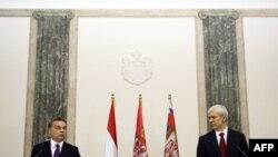 Predsednik Srbije Boris Tadic i premijer Madjarske Viktor Orban daju izjave novinarima nakon sastanka u Predsedništvu Srbije, 26. novembar 2010.