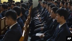 Students attend a seminar at Pyongyang University of Science and Technology in October 2011.