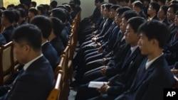 平壤科技大學的學生在聽講座。 (2011年10月5日資料照)