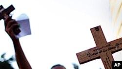 시위를 벌이는 이집트의 기독교도