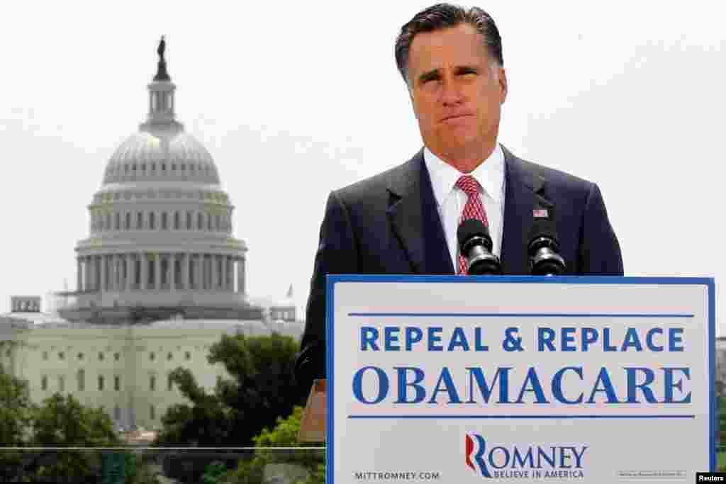 """共和党总统候选人罗姆尼对最高法院裁决发表评论。他说,""""你们可以想象得到,我不赞同最高法院的裁决,却赞成不同意见。"""""""