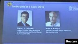 荣获2012年诺贝尔化学奖的美国科学家:罗伯特.莱夫科维茨(左)和布莱安.科比尔卡(右)