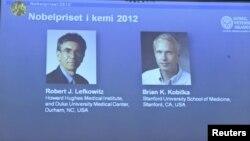 Ilmuwan Amerika, Robert Lefkowitz dan Brian Kobilka (kanan) ditampilkan di layar saat Royal Swedish Academy of Sciences di Stockholm, mengumumkan pemenang nobel Kimia 2012 (10/10).